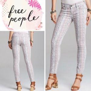 🌸 Free People Geo Print Rotary Skinny Jeans